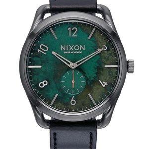 Nixon C45 Leather Gun Green Oxyde 45mm